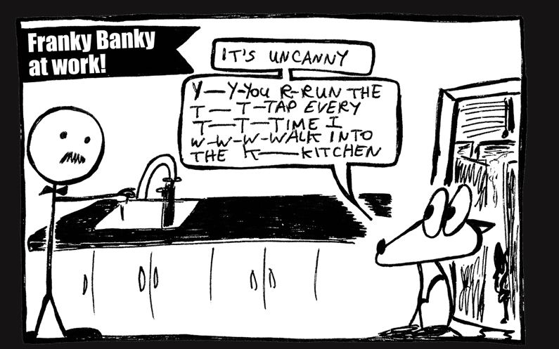 Part of a comic featuring Franky Banky in the workplace