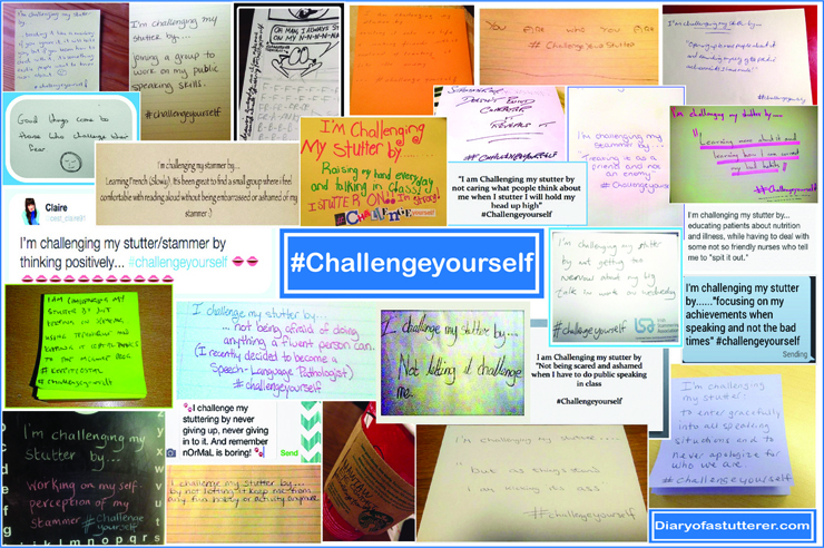 Collage of inspirational stuttering challenges.