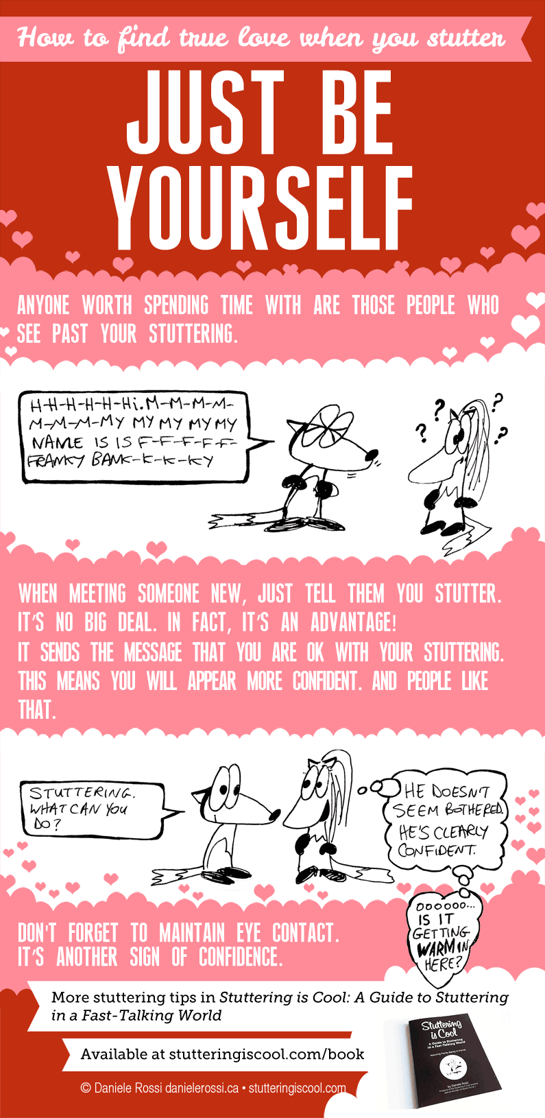 A short comic demonstrating how just being yourself leads you to true love. Don't worry about stuttering.