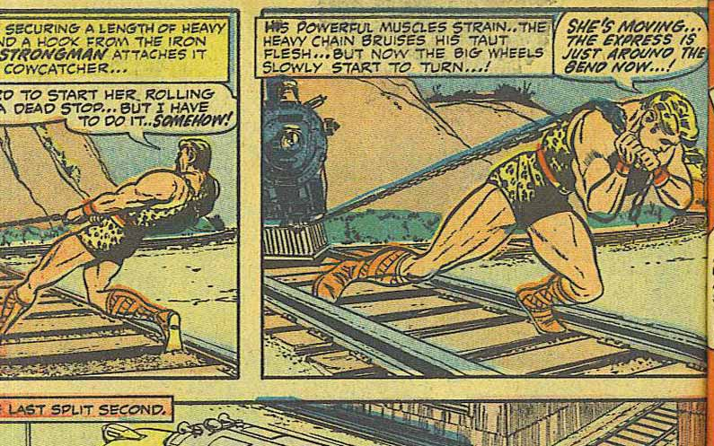 Image from a public domain comic book depicting a muscle bound man pulling a train by a chain!