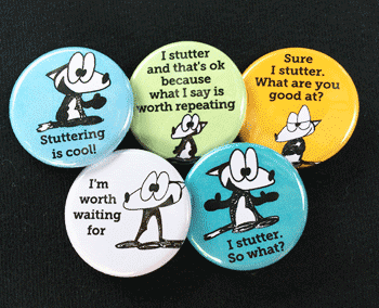 Photo of 5 stuttering awareness buttons