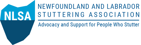 The Newfoundland and Labrador Stuttering Association logo consisting of an iceberg coloured in two blue tones. Accompanying the logo is the name of the association and its tag line, Advocacy and Support for People Who Stutter.